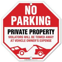 "Private Property No Parking Sign, Private Driveway Sign, Violators Will Be Towed at Vehicle Owner's Expense, Octagon Shaped Outdoor Rust-Free Metal, 11"" x 11"" - by My Sign Center, 21118F7-A4"