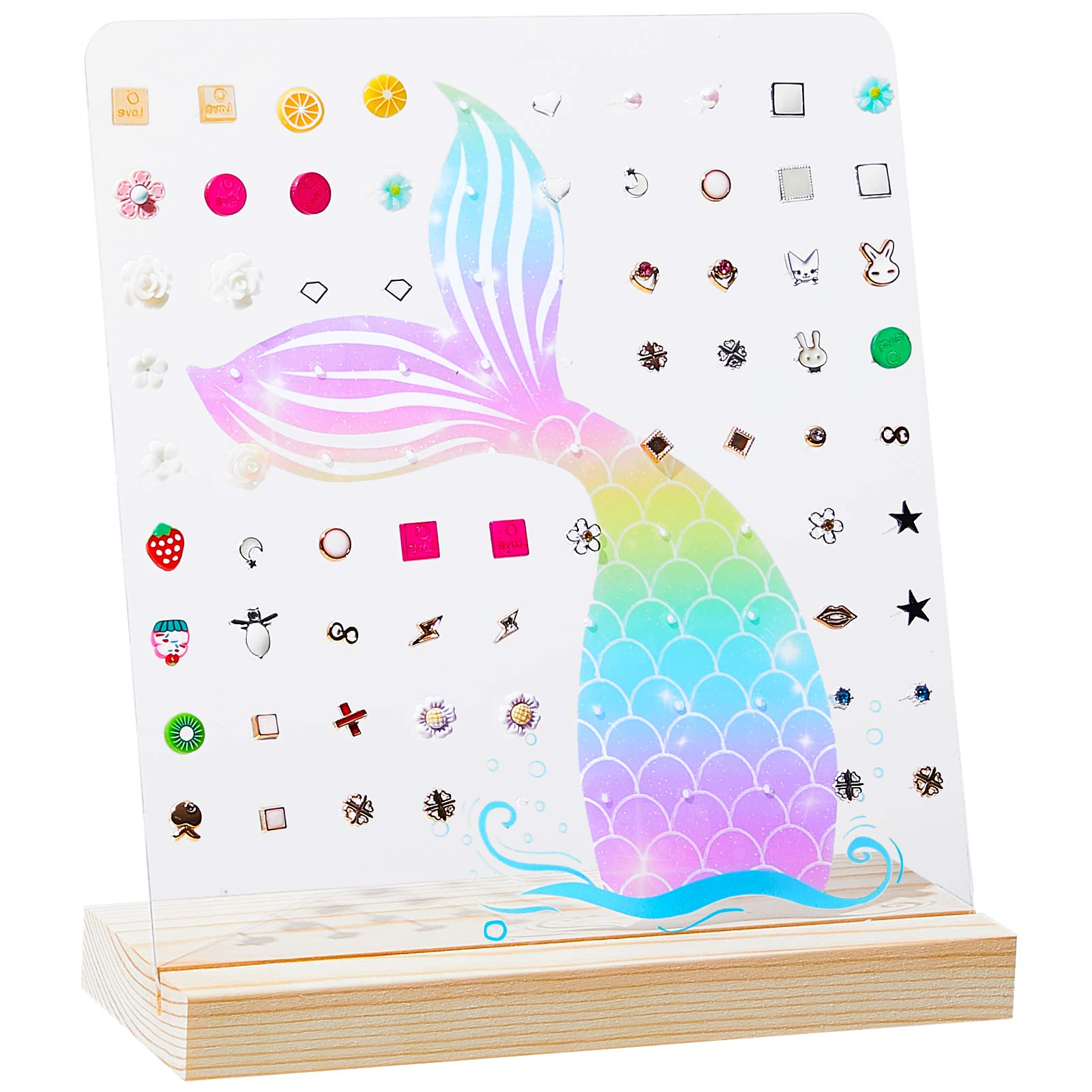 FIOBEE Girls Earring Holder Stand Mermaid Jewelry Organizer Acrylic Earring Display Ear Stud Storage for Kids with 90 Holes