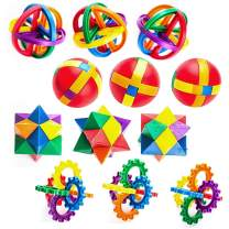Kicko Plastic Puzzle Balls - 12 Pack Multicolor Fun Kids' Attracting Game - Prize, Party Favors