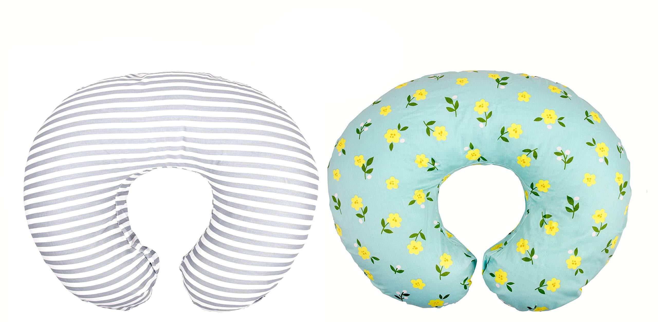 Premium Quality 2 Pack Nursing Pillow Covers by Mila Millie | Baby Girl Chic Flower Design | Gray Stripes Unisex Slipcover | 100% Cotton Hypoallergenic | Breastfeeding | Shower Gift | Fits Boppy