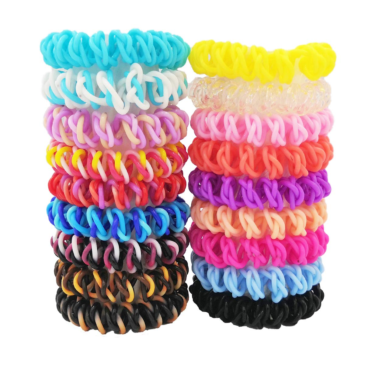 18PCS Spiral Hair Coils No Crease,Traceless Spiral Hair Ties,Phone Cord Hair Ties, Elastic Coil Hair Ties, Spiral Ponytail Holder for Girls Women Teens