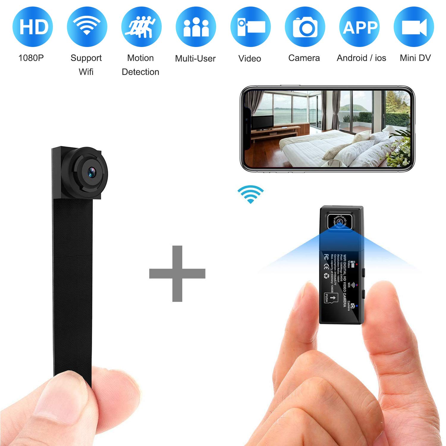 Hidden Spy Camera Wifi Hd 1080p Portable Wireless Small Ip Camera Nanny Cam With Interchangeable Lens Motion Detection For Home Office