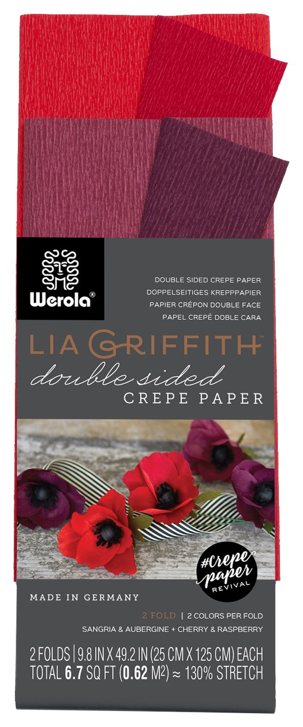 Lia Griffith Double Sided Crepe Paper Folds Roll, 6.7-Square Feet, Sangria and Aubergine, Cherry and Raspberry