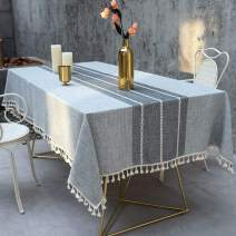 Deep Dream Tablecloth, Embroidered Table Cloth Cotton Linen Wrinkle Free Anti-Fading Tablecloths Washable Dust-Proof Table Cover for Kitchen Dinning Party, 55 x 55 Inch - New Gray