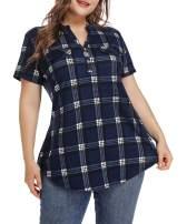 MONNURO Womens Plaid Shirts Henley V Neck Casual Loose Short Sleeve Tunic Tops T-Shirt Blouses