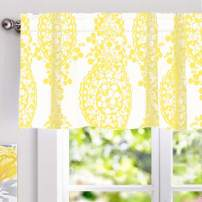 DriftAway Samantha Floral Damask Medallion Pattern Valance Single Rod Pocket 52 Inch by 18 Inch Plus 2 Inch Header Yellow