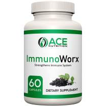 ImmunoWorx Immune Support Vitamins (60 Capsules) - Elderberry with Zinc, Echinacea & Vitamin C - Women & Men's Daily Herbal Supplement for Immune Support - Powerful Antioxidant - Natural Elderberries