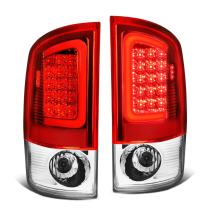 Replacement for 07-09 Dodge Ram Pickup 3rd Gen Pair of 3D White LED Bar Chrome Housing Red Lens Brake Tail Lights