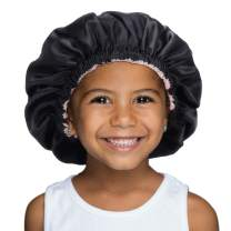 YANIBEST Kids Satin Bonnet Sleep Cap for Curly Hair - Double Layer Reversible Adjustable Silky Satin Cap for Teens Toddler Child(5-12T,Black)