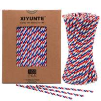 XIYUNTE 100pcs Striped Paper Straws Biodegradable, Natural, Environmentally Friendly, Triple Layer Technology Disposable Drinking Straws for Everyday, Parties