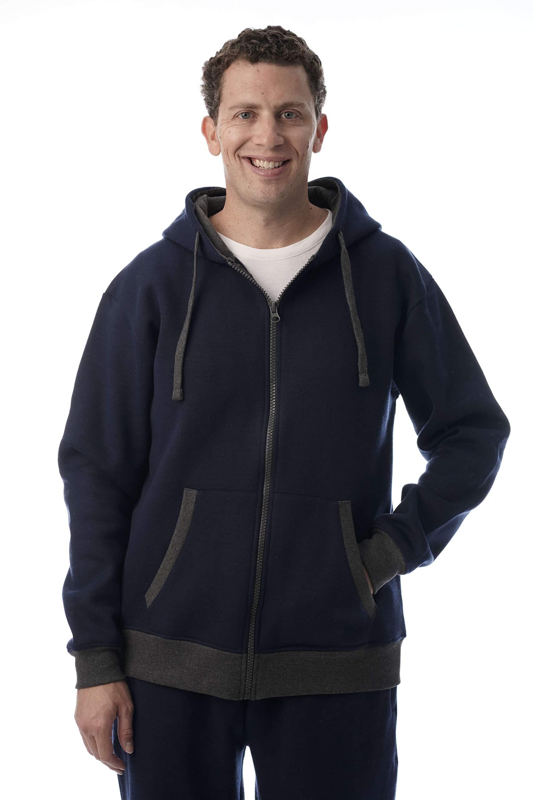 At The Buzzer Men's Fleece Hoodie Zip Up Hooded Sweatshirt with Contrast Trim