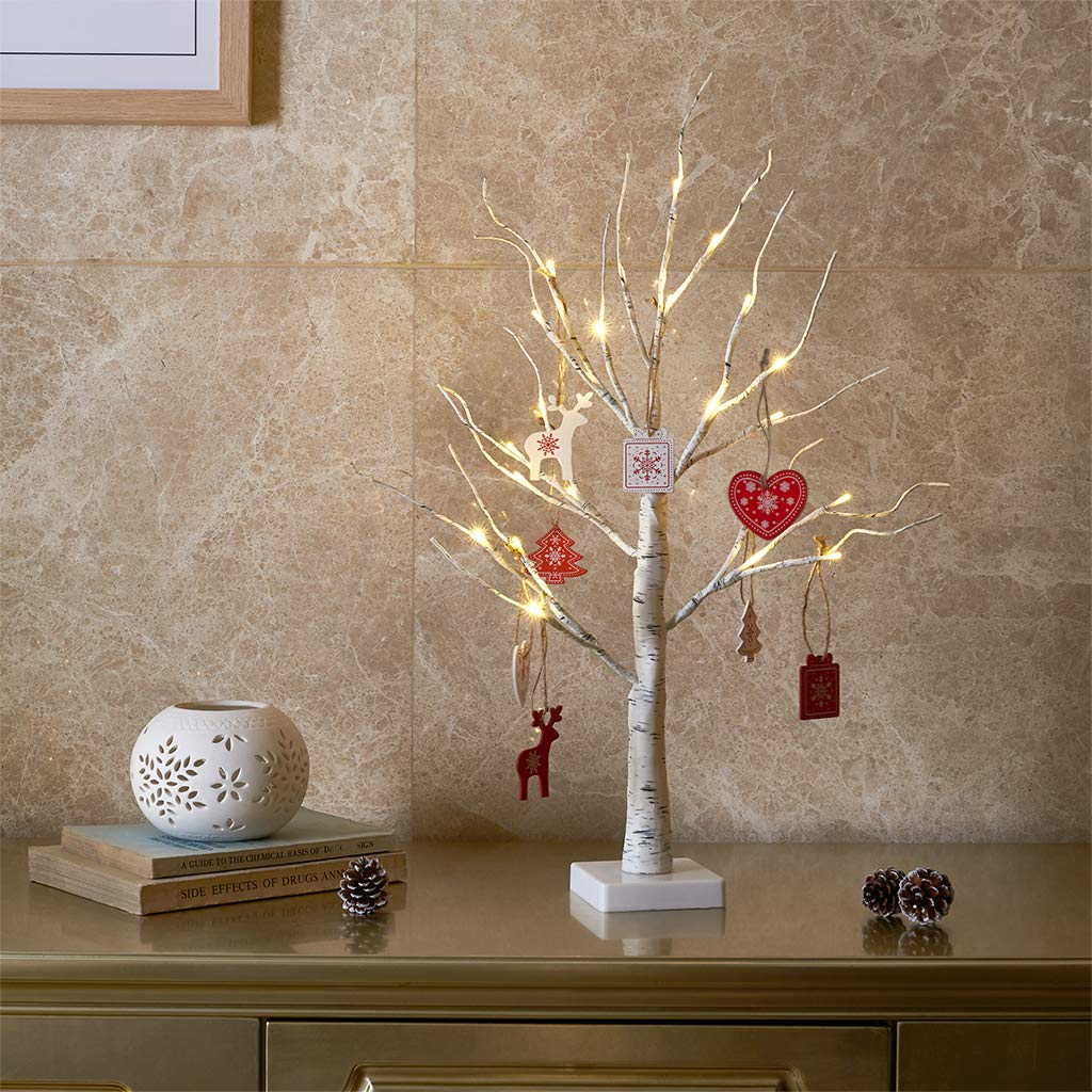 EAMBRITE White Birch Tree 2FT 24LT Christmas Tree Light with Wood Ornament Centerpiece Decor for Home Wedding Party Holiday