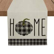 Artoid Mode Buffalo Plaid Pumpkin Home Table Runner, Seasonal Fall Harvest Kitchen Dining Table Runners for Indoor Outdoor Home Party Decor 13 x 72 Inch