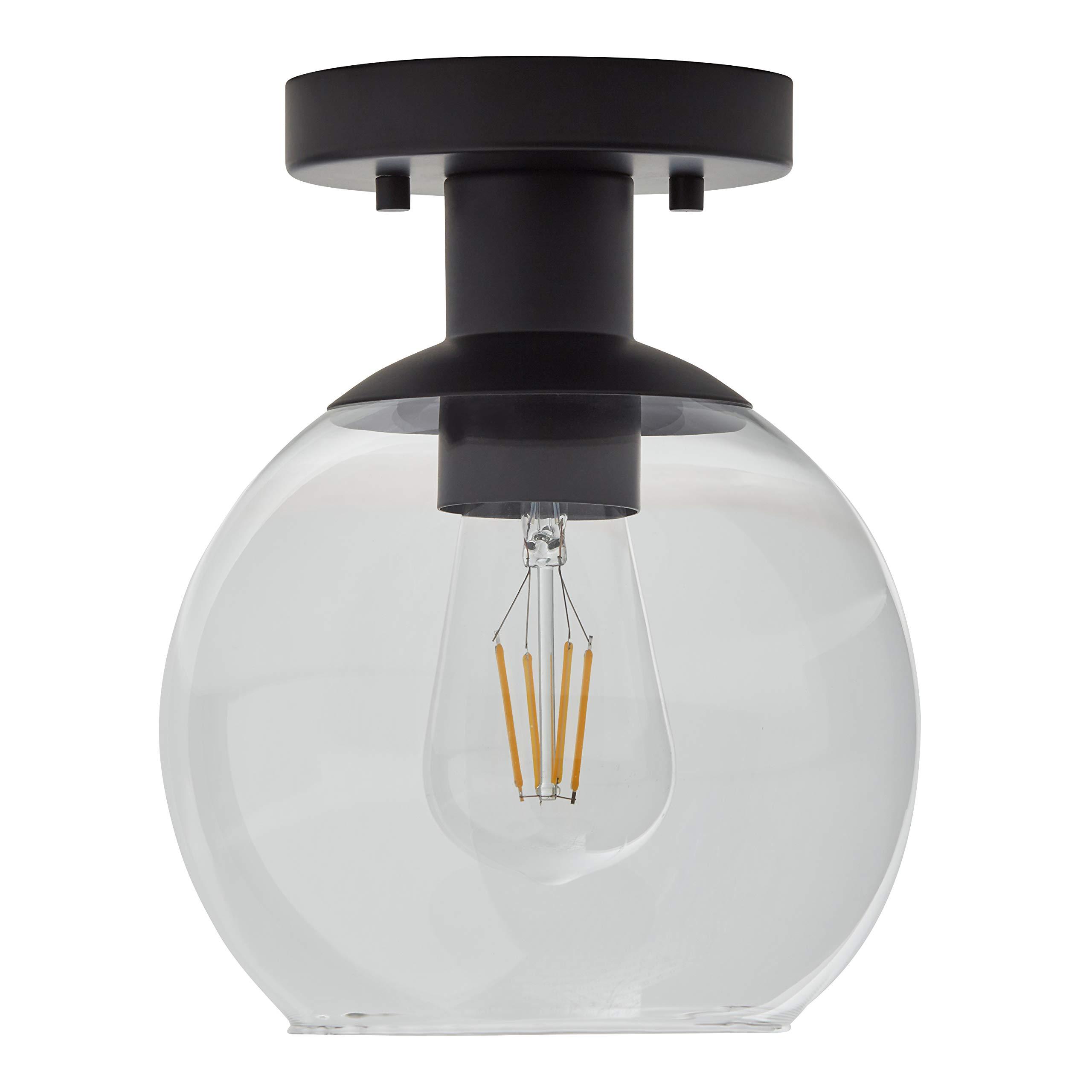 Amazon Brand – Rivet Mid-Century Modern Glass Globe Flush-Mount Ceiling Fixture with Light Bulb - 8.87 x 7 x 7 Inches, Black