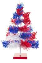 4th of July Christmas Trees Classic Tinsel Feather Style Tree Red, White, Blue Tabletop Height Vintage Retro American Patriotic Centerpiece Display Tree Indoor Outdoor w/Wood Base Stand (18'')