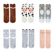 Bestjybt Baby Girls Boys Knee High Socks Cotton Newborn Infant Kids Toddler Stockings, 6 Pairs