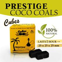 Prestige Bubbles Coco Coals - Coconut Hookah Charcoal   100% Natural, Odorless & Tasteless   Organic Hookah Charcoal with Large Shisha Cube Shape   1 KG