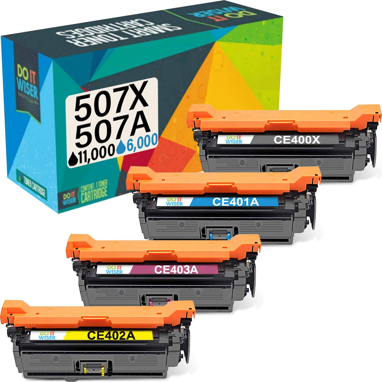Do it Wiser Remanufactured Toner Cartridge Replacement for HP 507 HP 507X HP 507A CE400X HP Laserjet Enterprise HP M551n M551dn M551xh M570dw M570dn M575c M575dn (Black Cyan Magenta Yellow 4-Pack)