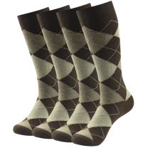 Casual Crew Dress Socks, SUTTOS Mens Fashion socks Men's Argyle Striped Flag Patterned Cotton Socks,2/4/6 Pairs