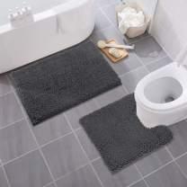 MAYSHINE Bathroom Rug Toilet Sets and Shaggy Non Slip Machine Washable Soft Microfiber Bath Contour Mat (20×32/20×20U inches, Charcoal Gray)