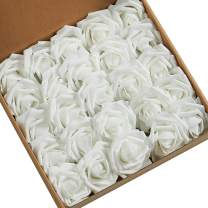 N&T NIETING Roses Artificial Flowers Bulk, 25pcs Real Touch Artificial Foam Roses Decoration DIY for Wedding Bridesmaid Bridal Bouquets Centerpieces, Party Decoration, Home Display(White)