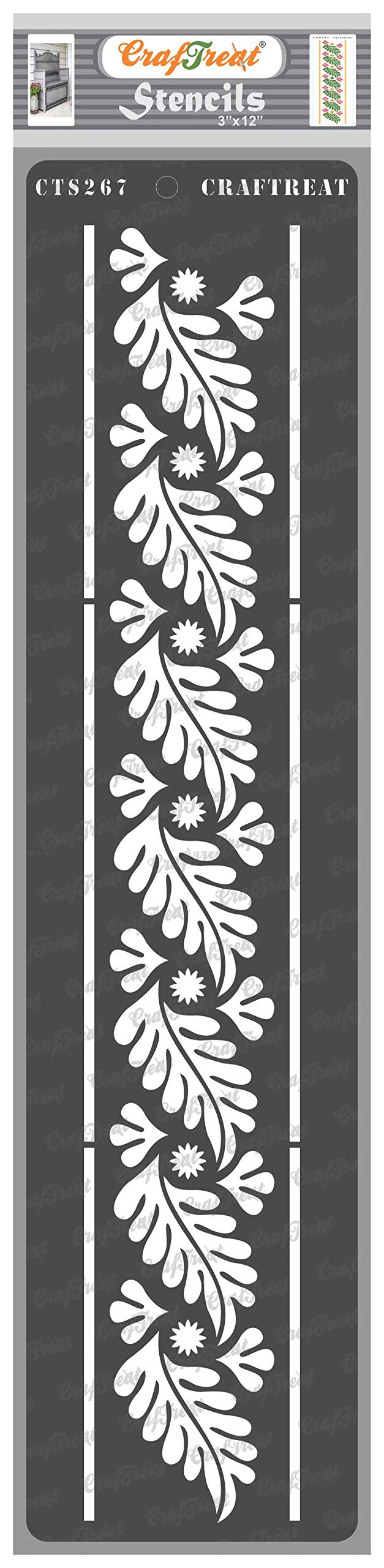 CrafTreat Leaf Border Stencils for Painting on Wood, Canvas, Paper, Fabric, Floor, Wall and Tile - Border11-3x12 Inches - Reusable DIY Art and Craft Stencils - Flourish Border Stencil