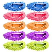 AIFUSI Mop Slippers Shoes Cover Microfiber Dust Mop Slippers Cleaning Floor House for Bathroom,Office,Kitchen, 5 Pairs/10 Piece Green/Blue/Yellow/Pink/Purple