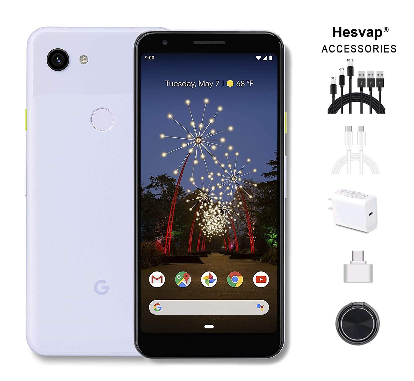 Google - Pixel 3a Unlocked Android G020g with 64GB Memory Cell Phone Unlimited Cloud Storage W/ 69.99 Hesvap 7 in 1 Accessories Bundle (Purple-ish)