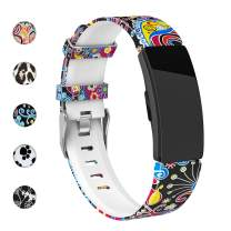 REYUIK Floral Bands Compatible with Fitbit Inspire HR/Inspire/Ace 2, Fadeless Pattern Printed Band Replacement Strap Accessories Wristband Large Small for Inspire HR Women Men