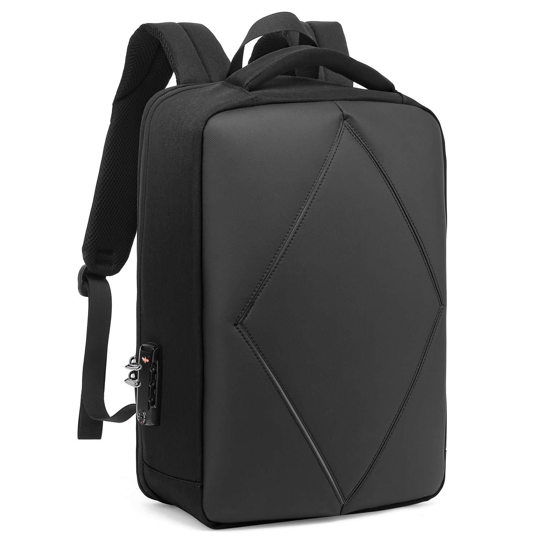 LOKASS Laptop Backpack 15.6 Inch Nylon Knapsack Anti-Theft Business Bag Water Resistant Bookbag TSA Durable Travel Backpack with USB Charging Port for Men Women(Black)