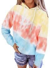 Happy Sailed Women Tie Dye Sweatshirts Long Sleeve Colorblock Pullover Hoodies Tops S-2XL