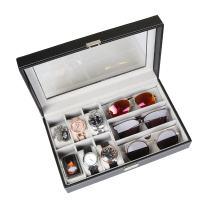 Goetland PU Leatherette Watch Display Box Jewelry Case Lockable, 6 Watch Slots & 3 Sunglasses Grids