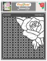 CrafTreat Rose Flower Stencils for Painting on Wood, Wall, Tile, Canvas, Paper, Fabric and Floor - Checkered Rose - 6x6 Inches - Reusable DIY Art and Craft Stencils for Painting Flowers