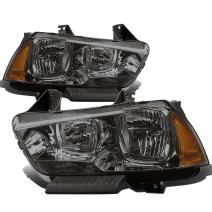 Pair of OE Style Smoked Housing Amber Corner Headlight Assembly Head Lamps Replacement for Dodge Charger LD 11-14