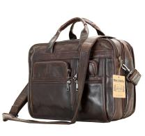 Leather Men Bag,Berchirly Genuine Leather Expandable Laptop Computer Business Briefcase Bags Cowhide Handbag Case