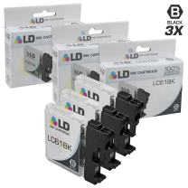 LD Compatible Ink Cartridge Replacement for Brother LC61BK (Black, 3-Pack)