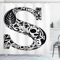 """Ambesonne Letter S Shower Curtain, Natural Floral Design Monochrome Style Uppercase S Letter with Silhouette Blooms, Cloth Fabric Bathroom Decor Set with Hooks, 75"""" Long, Black and White S"""