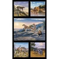 Elizabeth's Studio African Animals 23.5in Panel Black Fabric