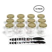 Hexagon Glass Jars by Nellam - 6oz, 12 Pack with 24 Chalk Sticker Labels and Chalk Pen - DIY Jars for Canning, Party and Wedding Favors, Jams, Sauces, Herbs, Spices. (Gold Lid - 12 Pcs)