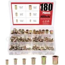 Hilitchi 180 Pcs UNC Rivet Nuts Threaded Insert Nut Assortment Kit, 5/32-32, 8-32, 10-24, 1/4-20, 5/16-18, 3/8-16 UNC Rivnut