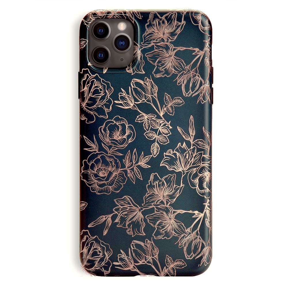 Velvet Caviar Compatible with iPhone 11 Pro Max Case Floral Flower for Women & Girls - Cute Protective Phone Cases (Rose Gold Flowers)