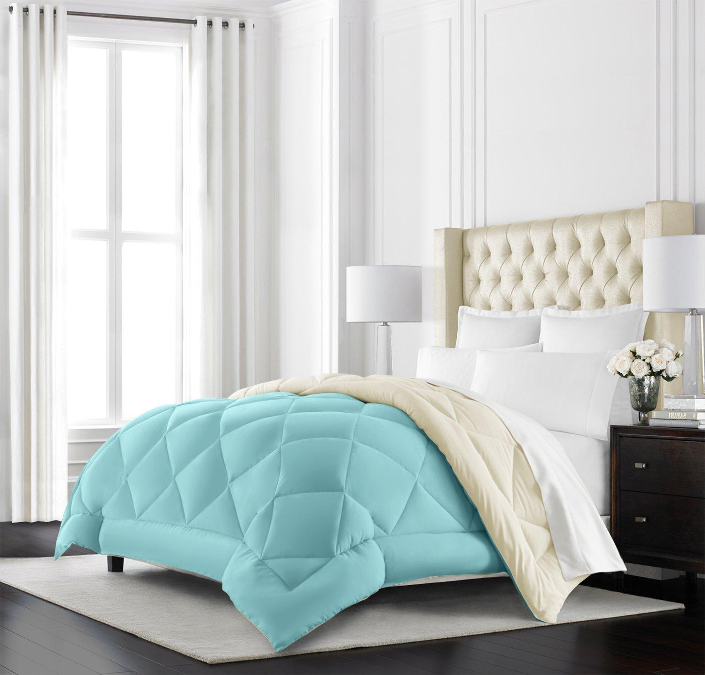 Beckham Hotel Collection Goose Down Alternative Reversible Comforter - All Season - Premium Quality Luxury Hypoallergenic Comforter - Twin/Twin XL - Aqua/Ivory