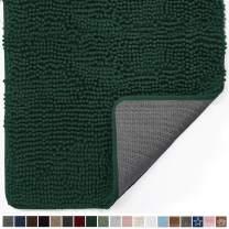 Gorilla Grip Original Indoor Durable Chenille Doormat, Large, 36x24, Absorbent, Machine Washable Inside Mats, Low-Profile Rug Doormats for Entry, Back Door, Mud Room, High Traffic Areas, Deep Green