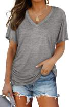 WIHOLL Womens Short Sleeve V Neck Dolman Tops with Side Shirring Loose Fit Shirts