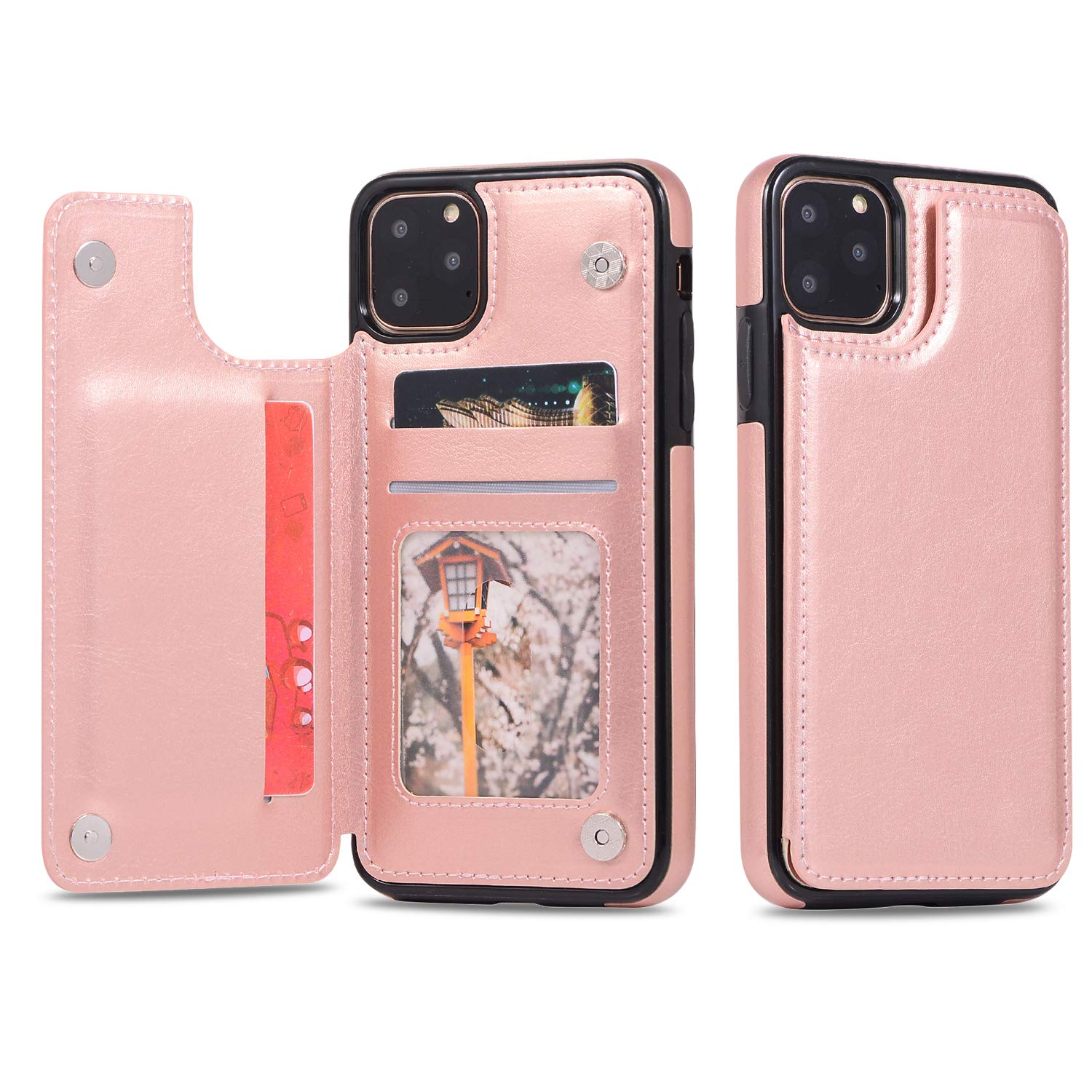 SAVYOU iPhone 11 Pro Wallet Case with Credit Card Holder, PU Leather Kickstand Magnetic Clasp Durable Shockproof Protective Flip Cover for iPhone 11 Pro 5.8Inch 2019 (Rose Gold)