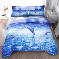 ENCOFT Blue Galaxy Dolphin Print 3D Comforter Bedding Sets 3 Pieces,Tencel Cotton Blue Galaxy Dolphin Kids Comforter Sets with 2 Pillowcases
