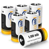 Rechargeable C Batteries 6 Pack, Keenstone 5000mAh Ni-MH C Cell Batteries High Capacity Size C Batteries