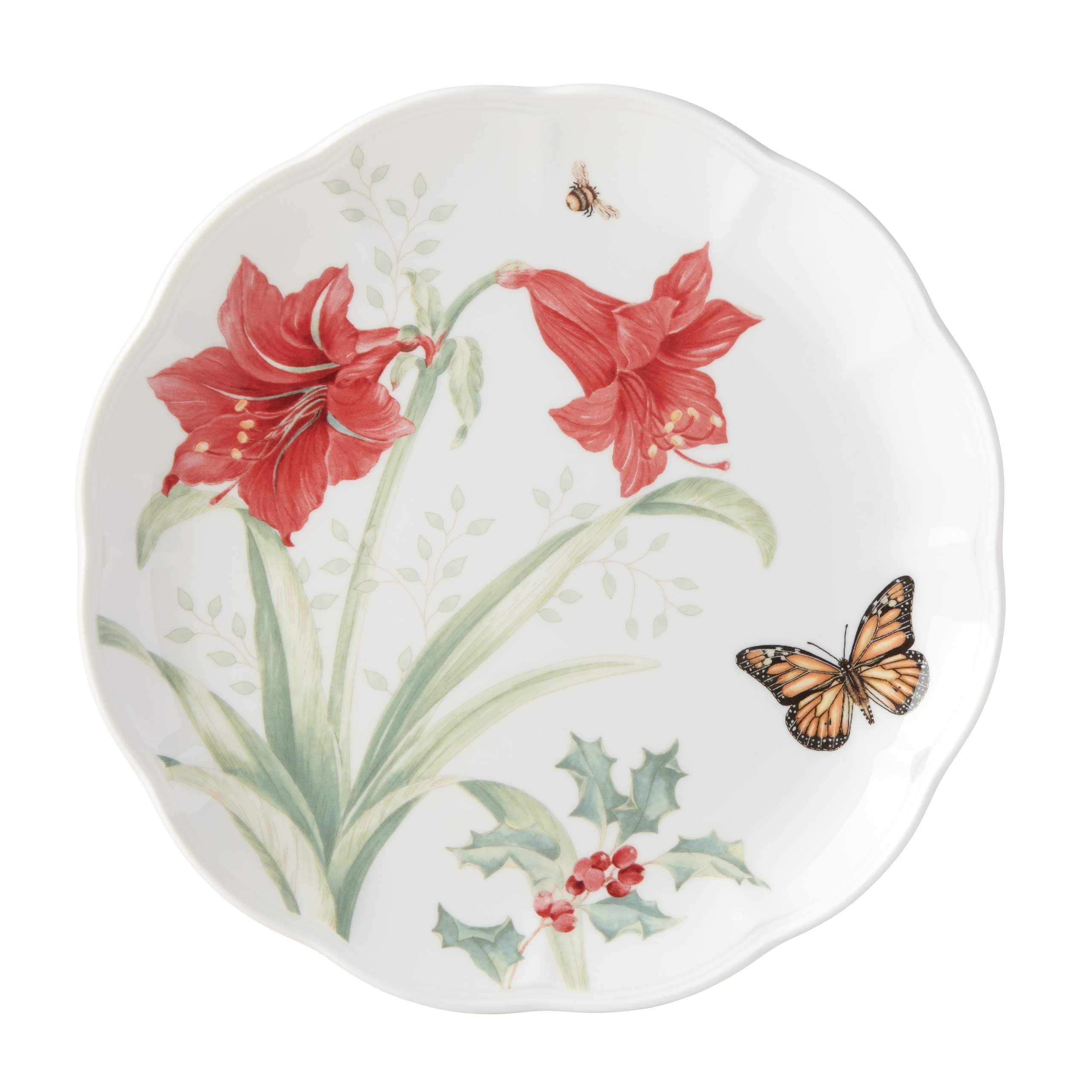 Lenox 884601 Butterfly Meadow Holiday Amaryllis Dinner Plate