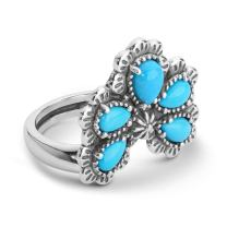 American West Sterling Silver Sleeping Beauty Turquoise Gemstone 5-Stone Ring Size 5 to 10