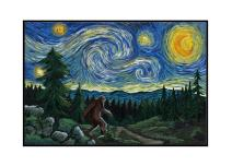 Northwest - Van Gogh Starry Night - Bigfoot (18x12 Framed Gallery Wrapped Stretched Canvas)